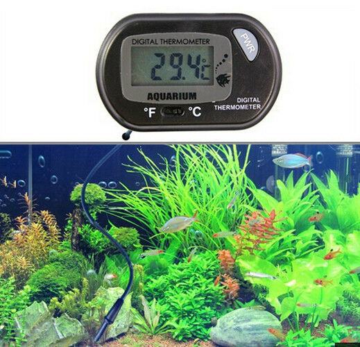 Digital LCD Fish Aquarium Tank Marine Water Thermometer Sensor Wired Black HAO