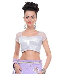 White Evening Blouse Short Sleeve Shimmering Sequin Fashion Choli