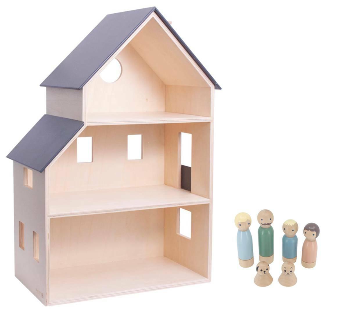 Sebra Puppenhaus Spielhaus - grau mit Puppen aus Holz   NEU + SOFORTLIEFERUNG