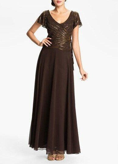 JKARA 8 Chocolate Brown Embellished V-neck Bodice Chiffon Gown/Dress NWT