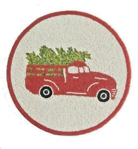 Vintage Red Truck Christmas Placemats.Details About Red Truck Beaded Placemat Charger Centerpiece New 15 Rd Christmas Rustic Camp