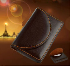 Pocket Leather Name Business Card Id Card Credit Card Holder Case Wallet Brown