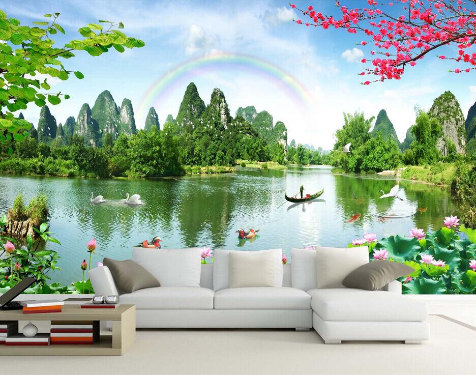 3D Regenbogen Lotusteich 8 Fototapeten Wandbild Fototapete BildTapete Familie DE