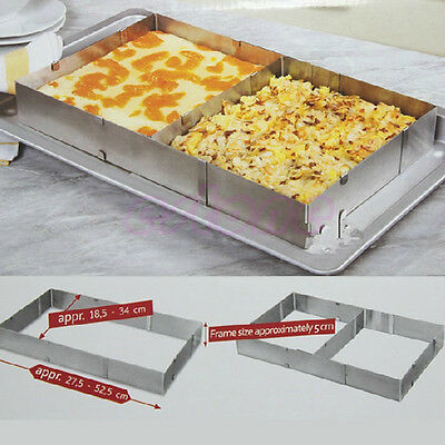 """10"""" - 20""""  Adjustable Rectangle Scalable Steel Mousse Ring Cake Baking Mold New"""