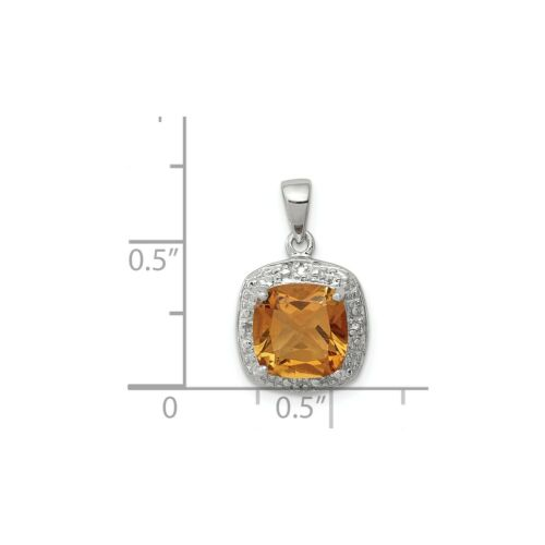 Details about  /Sterling Silver Rhodium Plated Cushion Yellow Citrine /& Diamond Square Pendant
