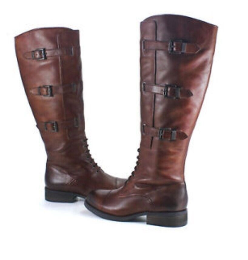 Vince Camuto Fenton Russet Brown Two Tone Leather High Boots Shoes 6M