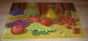 VINTAGE STRAWBERRY APPLE GRAPE PINEAPPLE FRUITS BOTANICAL STILL LIFE PAINTING
