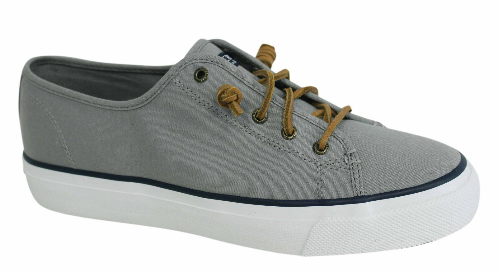 Sperry Sky Grey Sail Lace Up Womens Grey Sky Canvas Plimsolls Trainers STS99190 U37 660cc1