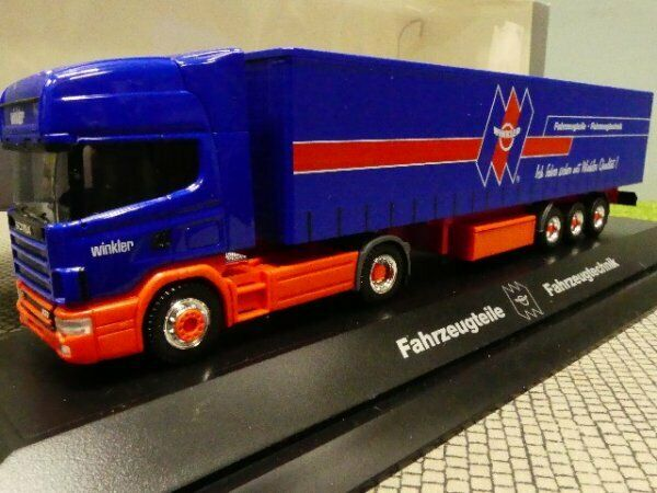 1 87 Herpa Scania R09 WINKLER Fahrzeugteile - technik Koffer Sattelzug