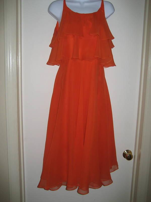 Vintage MOLLIE PARNIS BOUTIQUE orange Float Dress Sz M
