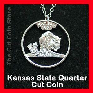 Cut-Coin-Jewelry-Kansas-KS-Quarter-Pendant-Charm-Necklace-Sunflower-Buffalo