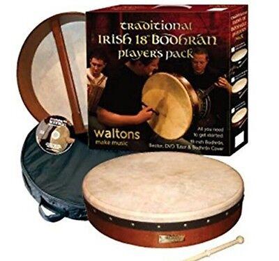 18 inch WALTONS BODHRAN, traditional Irish Drum players pack