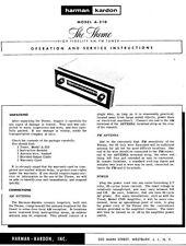 Harman Kardon A-310 Receiver Owners Manual