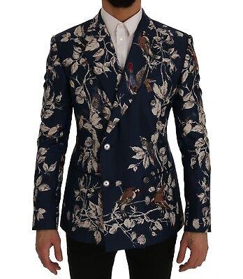 Nuovo Dolce & Gabbana Giacca Blazer Blu Uccello Di Seta Con Stampa Slim It48/ Sentirsi A Proprio Agio