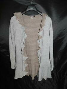 Pyramid-Collection-S-Gray-Hooded-Cardigan-Knit-Shirt-Open-Ruffle-Front-Hood-Sm