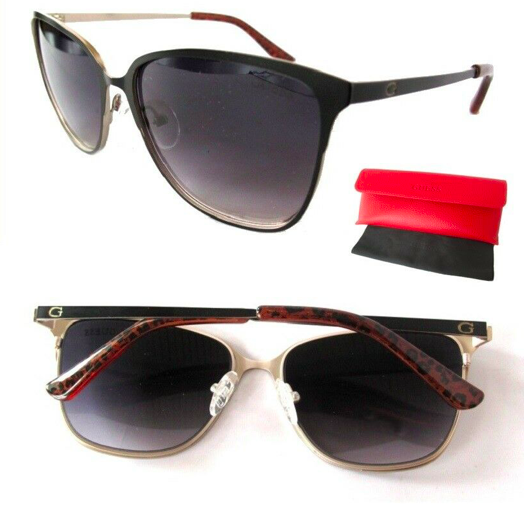*BRAND NEW* GUESS GF6010 Black-Chrome Women's Sunglasses + Guess Red Case