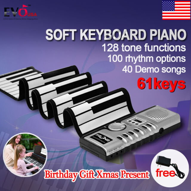 Portable 61 Keys Roll Up Digital Electronic Soft Keyboard Piano with Adaptor US
