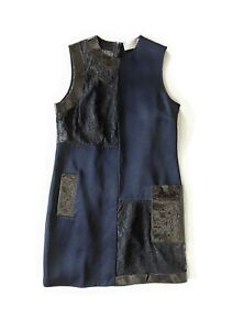 CHRISTOPHER KANE navy dress with black lace and patent leather trims - size UK12