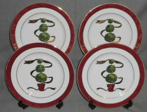 Set-4-Macy-039-s-The-Cellar-HOLIDAY-TOPIARY-PATTERN-Salad-Plates-CHRISTMAS-TABLE