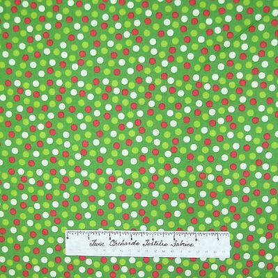 "Christmas Fabric - Happy Holiday Red Green Cream 1/4"" Polka Dot - AE Nathan 23"""