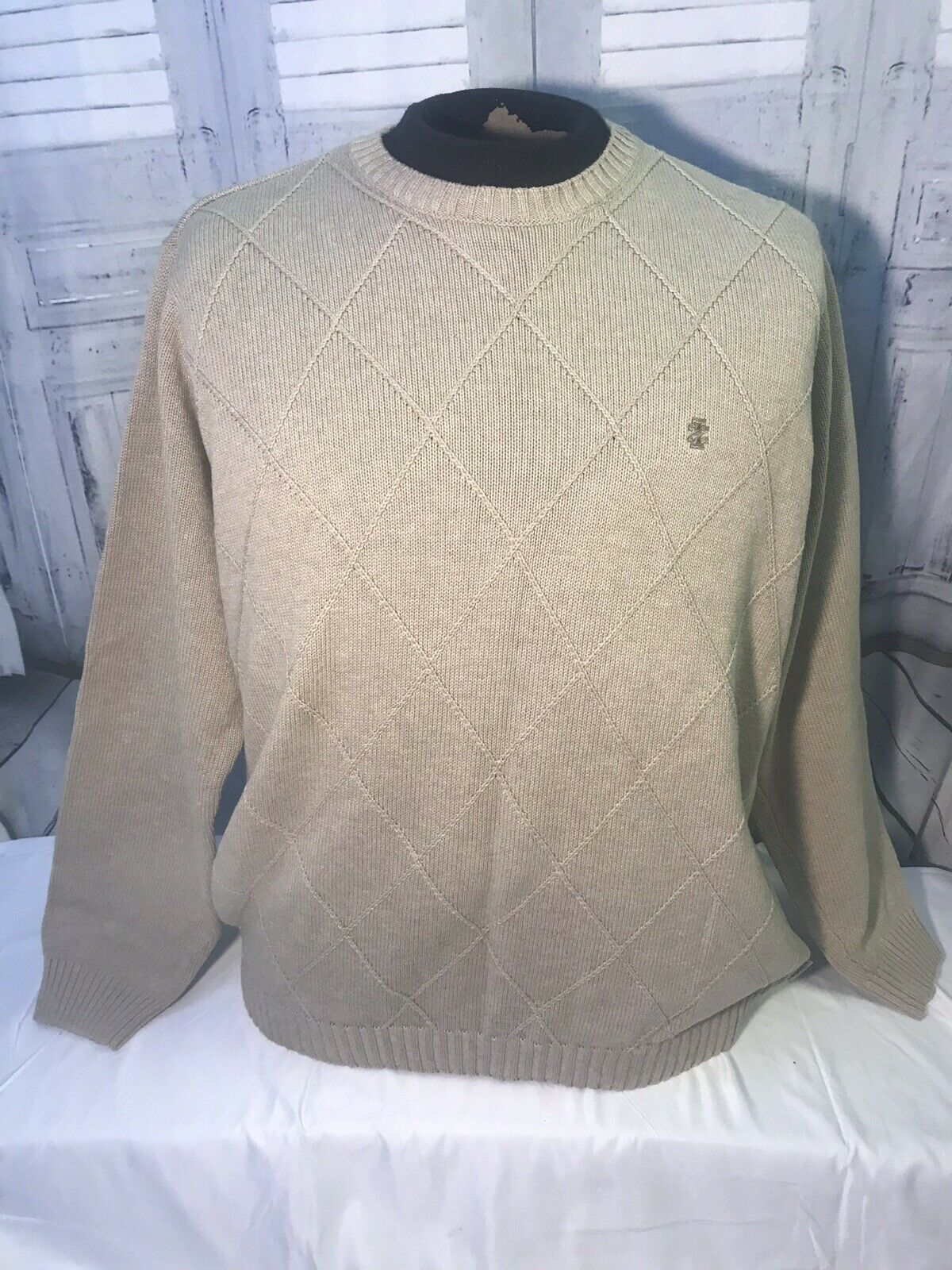IZOD Men's 100% Cotton Sweater Large Beige Quality  NWOT