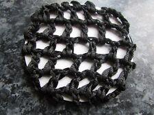 Black bun hair net crochet detail mesh fabric snood cover dance ballet  riding