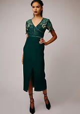 Virgos Lounge Farley Green Embellished Drape Midi Wedding Party Dress  8 36 £140
