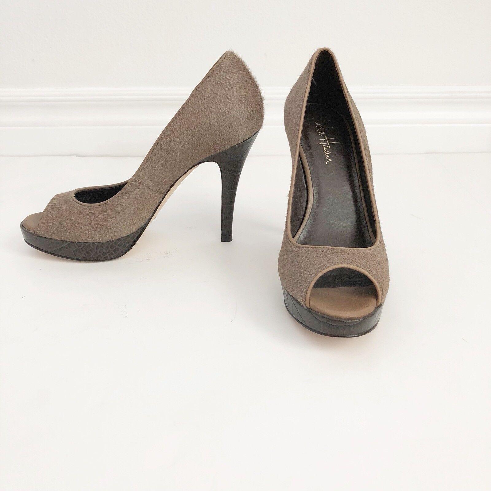 NEW Cole Haan Size 7.5 Peep Toe Calf Hair Pump Heel   (msrp  327.00)