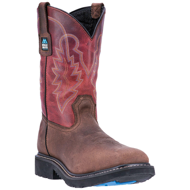 McRae Work Boots Men Brown 11 Inch Deep Dip Pull On Soft Toe Wellington MR85105