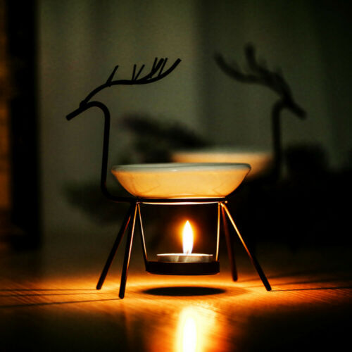 Stainless Steel Deer Burner Candle Aromatherapy Oil Lamp Decoration Aroma Furna