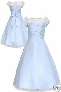 New Teens Girl Pageant Flower bridesmaid Evening Formal Party Dress Baby Blue