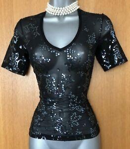 KAREN-MILLEN-UK-10-Black-Nylon-Sequin-Short-Sleeve-V-Neck-Body-Top-Blouse-EU-38