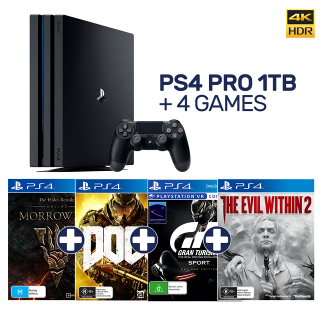 PlayStation 4 Pro 1TB Black Console + 4 Games - PlayStation 4 - BRAND NEW