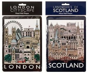 Tin-Metal-Wall-Signs-Plaques-Door-Wall-Hanging-London-Scotland-Collage-Cityscape