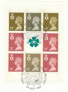 (83143) GB Used Northern Ireland Booklet Pane 1994 ON PIECE