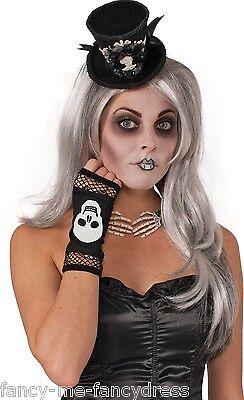 Da Donna Sexy Nero Rete Scheletro Abito Costume Halloween Guanti Aroma Fragrante