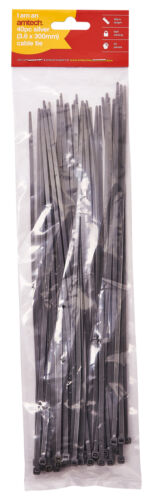 3.6 X 300Mm Cable Tie Silver Amtech S0688s 40Pc
