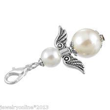 1 Weiß Engel Flügel Charm Anhänger Kettenanhänger Imitationsperlen 4x2.3cm