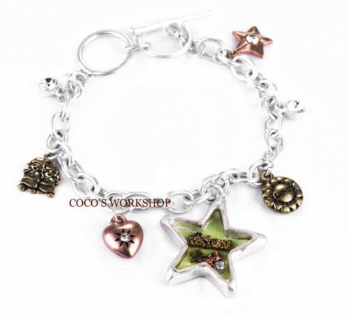 SILVER SISTER GLASS STAR HEART LOVE MULTI CHARM BRACELETS CHAIN LINK GIFT