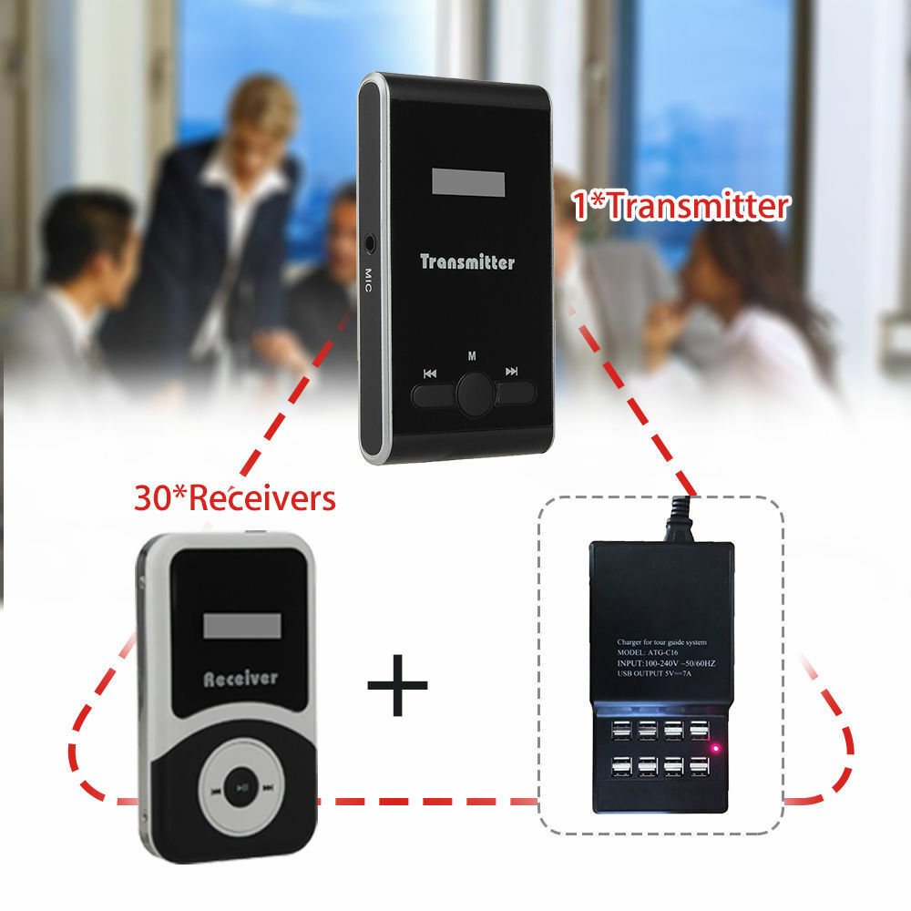 ATG-100 Wireless Tour Guide System 1-teiliger Sender + 15-teiliger Empfänger