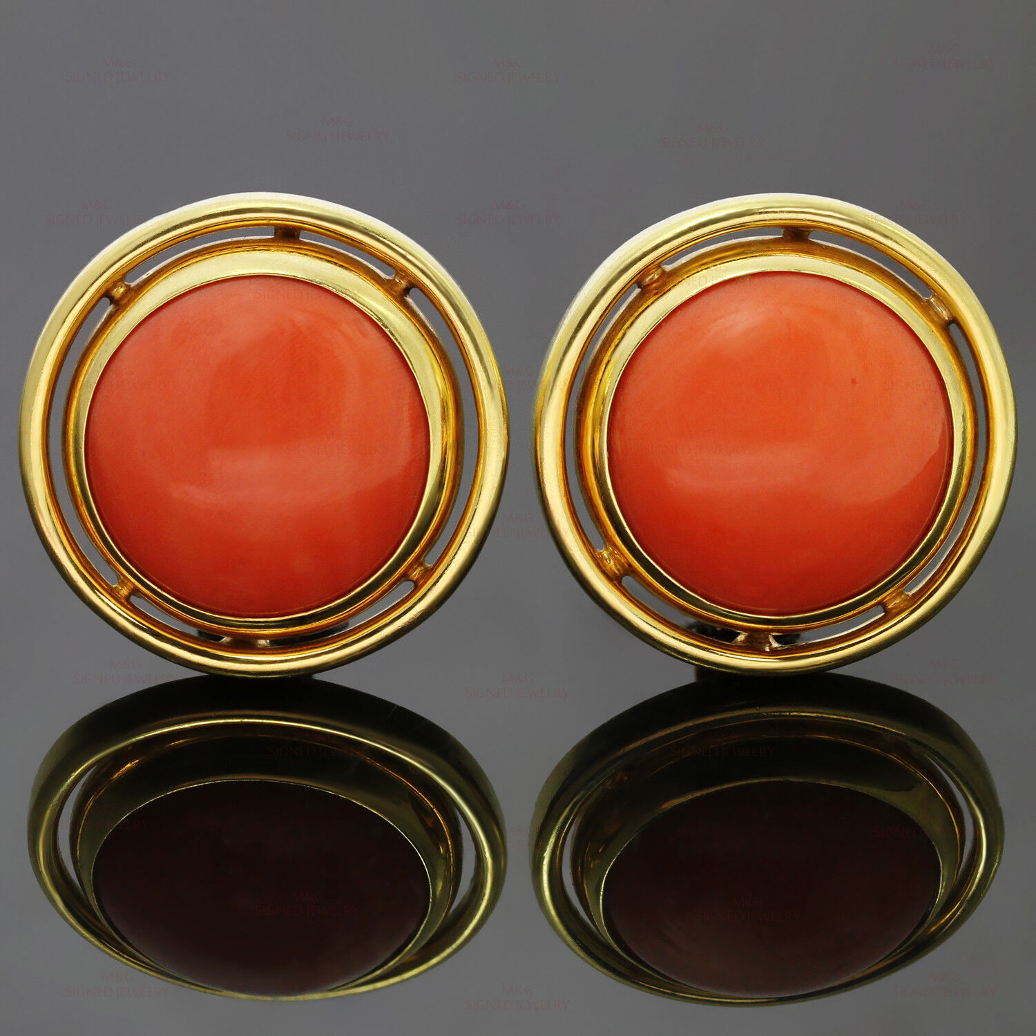 CARIMATI Italian Genuine Red Coral 18k Yellow gold Large Round Clip-on Earrings