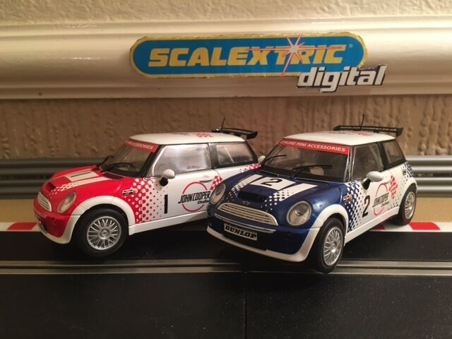 Scalextric Digital Mini Cooper No 1 & 2 (Very Rare Cars) Pristine Condition