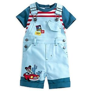 DISNEY-STORE-MICKEY-MOUSE-DUNGAREE-SHORTS-DUNGAREES-amp-BODYSUIT-NWT-CUTE-DETAIL