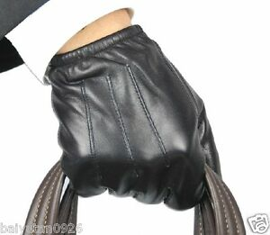 New-100-Echtes-Leder-Black-Police-Handschuhe-Police-Gloves