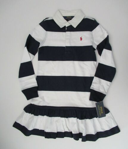 NWT Ralph Lauren Polo Girls Long Sleeve Navy Striped Rugby Dress 7 8//10 12//14 16