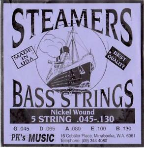 STEAMERS-45-130-GAUGE-5-STRING-BASS-STRINGS-SET-MADE-in-USA-NEW-FREE-POSTAGE
