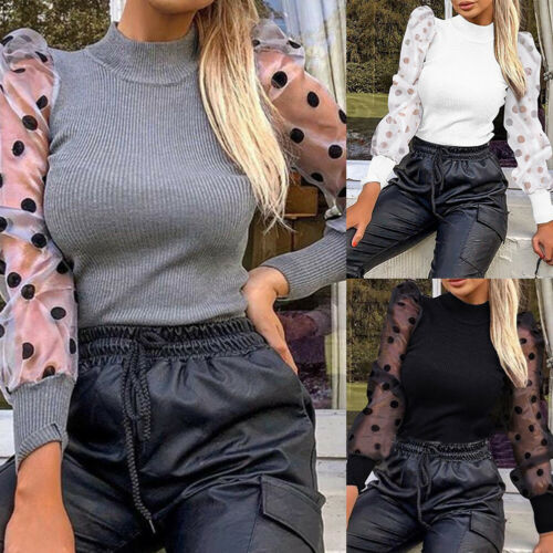 WOMEN TURTLE NECK MESH PUFF SLEEVE SWEATER TOP LADIES PULLOVER BLOUSE SHIRT SUPE
