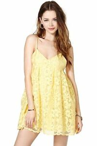 7d5b355707fb Image is loading Nasty-Gal-Sun-Showers-Dress-Yellow-Babydoll-Floral-