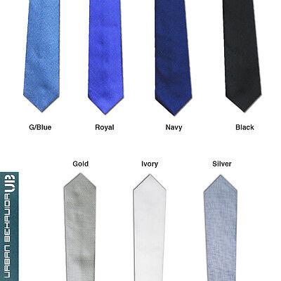 """New UB Men's Mini Check 2.5"""" (6.5cm) Skinny Slim Tie - 7 Colours"""