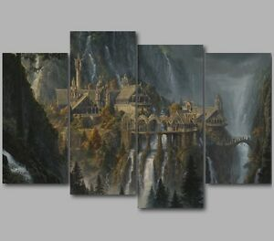 xl lord of the rings rivendell 4 panel split canvas picture wall art ebay. Black Bedroom Furniture Sets. Home Design Ideas